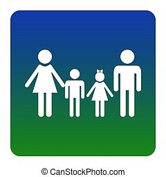 Family sign. Vector. White icon at green-blue gradient square with rounded corners on white background. Isolated.