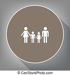 Family sign. Vector. White icon on brown circle with white contour and long shadow at gray background. Like top view on postament.