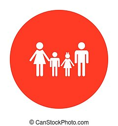 Family sign. White icon on red circle.