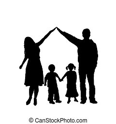 Family Silhouette - caring family silhouette isolated on...