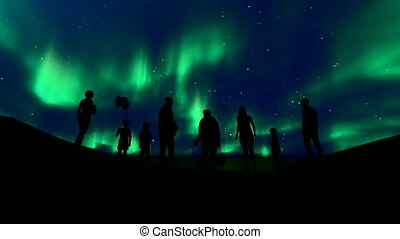 Family silhouette northern lights. Beautiful universe. ...