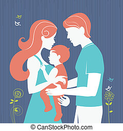 Family. Silhouette of parents with baby girl