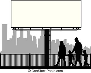 Family silhouette, urban background.
