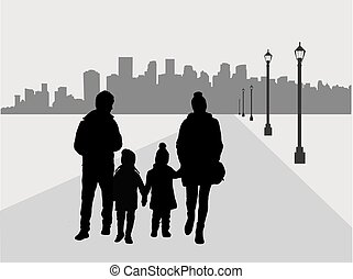 Family silhouette, urban background.