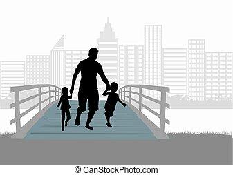 Family silhouette urban background.
