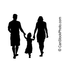 Family Silhouette Walking - Mother, father and daughter...