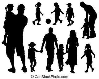 Family silhouettes - A set of parents and children ...