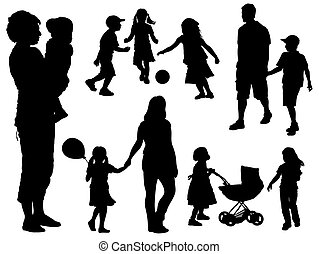 Family silhouettes - A set of parents and children...