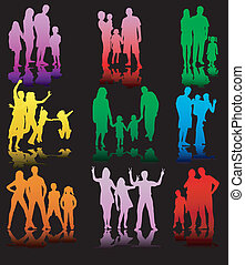 Family Silhouettes In different situations - color