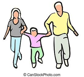 Family silhouettes isolated on white background. Flat vector color illustration