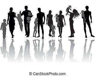 Family - Silhouettes of woman, man, children, family, icon...