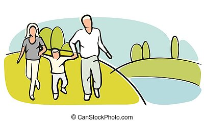 Family silhouettes on grassy field on a cloudless summer day. Flat vector color illustration.