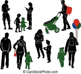 Family Silhouettes. Parents and children