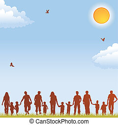Family silhouettes - Silhouettes of family on nature ...