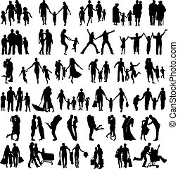 Family Silhouettes . Vector illustration - Happy Family...