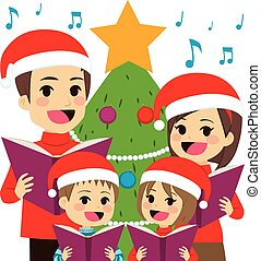 Family Singing Christmas Carols - Happy family singing...