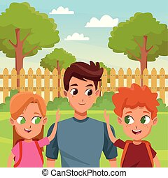 Family single father with children