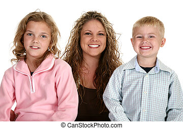 Single mom with her son and daughter over white.