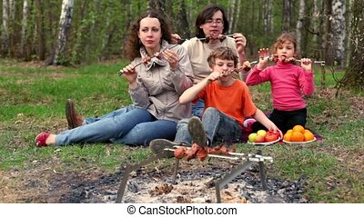 Family sit on grass cover by plaid and eats kebab on skewers