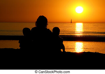 Family Sitting At Sunset