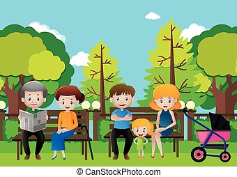 Family sitting in a park