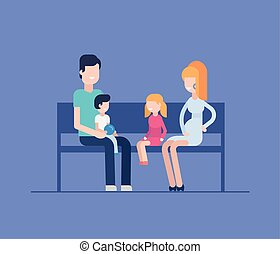 Family sitting on a bench - modern flat design style illustration