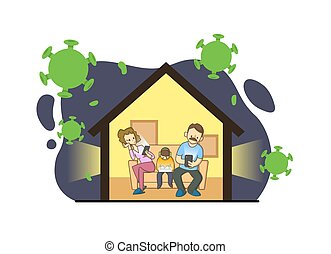 Family sitting on a couch with their gudgets in home surrounded by viruses. Stay home during the coronavirus. Coronavirus outbreak, quarantine concept. Flat vector illustration, isolated.