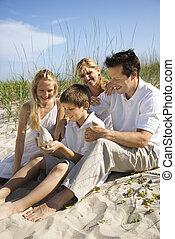 Family sitting on beach.