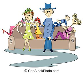 Family sitting on couch.