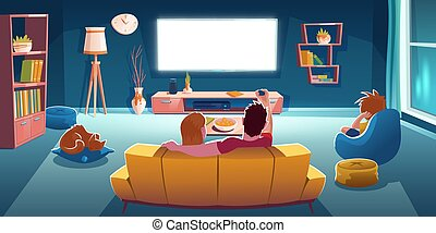 Family sitting on sofa and watch tv in living room at evening. Vector cartoon illustration of lounge room interior with rear view of couple on couch, boy on chair and glowing television screen