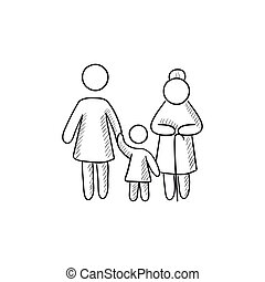 Family sketch icon.