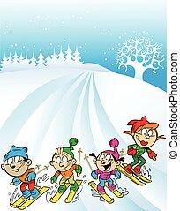 family ski trip - The illustration shows a family ski trip....