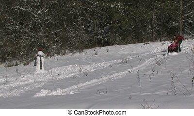 Family Sledding Down The Hills.