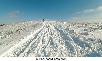 family slide downhill on a sledge