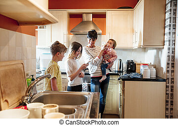 Family Socialising in the Kitchen