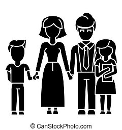 family, son, mother, father, daughter  icon, vector illustration, sign on isolated background