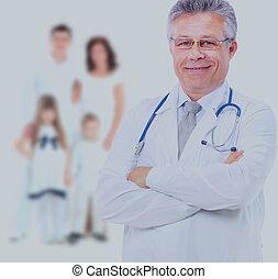 family., sorrindo, doutor médico