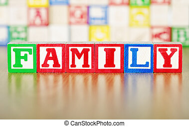 Family Spelled Out in Alphabet Building Blocks