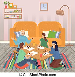 Family spend leisure time together at home, happy people playing bingo lotto game at table, hobby