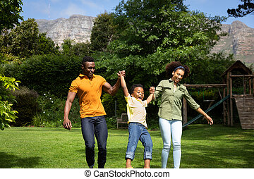 Family spending time together in the garden