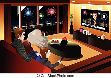 Family Spending Time Together on New Year Eve - A vector...