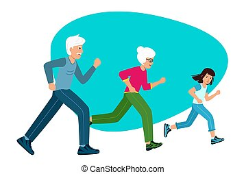 Family sports. Grandparents with a child running,