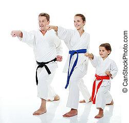 Family sportsmen in kimono beat arm - Family sportsmen two ...