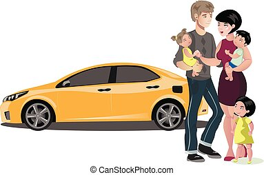 Family standing near new car.