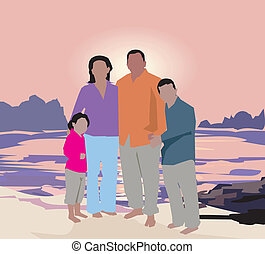 Family standing on beach