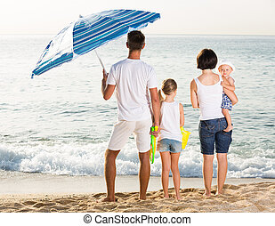 Family standing with back forward at beach