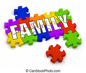 Family - 3D jigsaw pieces with text. Part of a series.