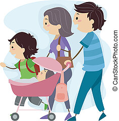 Family Stroll - Illustration of a Family Taking a Stroll...