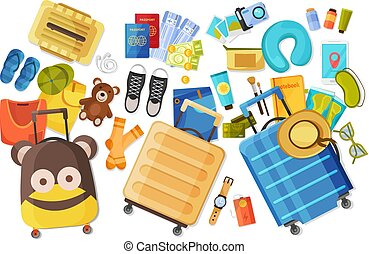 Family Suitcase Flat Composition