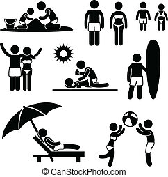 A set of pictogram representing family vacation at beach.